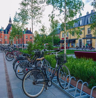 cobblestone street with bikes ​
