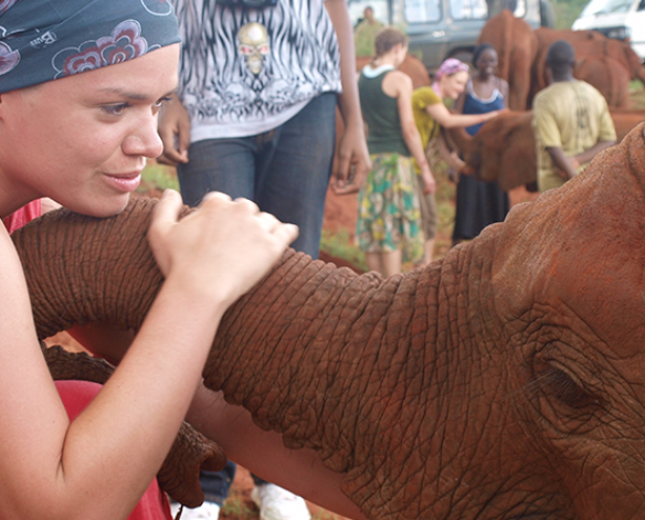MSW student with elephant