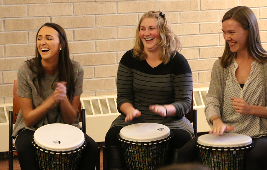 msw students drumming out stress