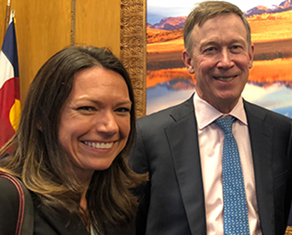 Suzanne Kerns and Gov. Hickenlooper