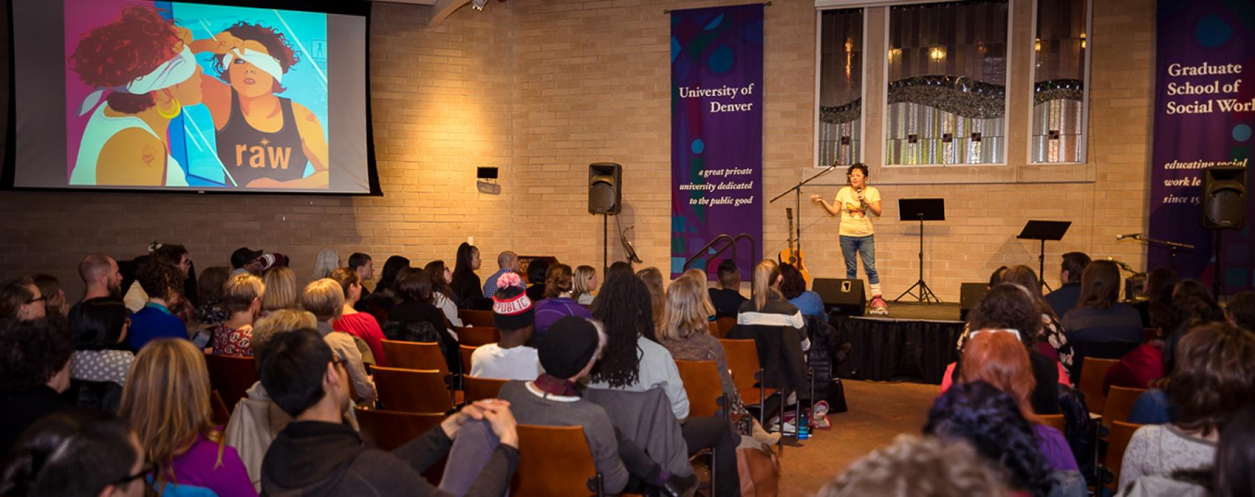Favianna Rodriguez speaking at Catalyst Series Event: Art and Activism